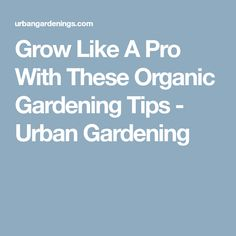 Grow Like A Pro With These Organic Gardening Tips - Urban Gardening