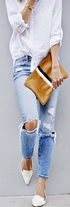 Street style | Casual white shirt, denim, clutch