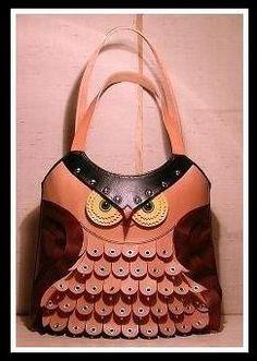 adorable handmade leather owl bag!