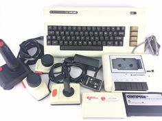 Commodore With Tape Player Controllers 2 Games + extras Home Computer, Gaming Computer, Computer Keyboard, Stocking Stuffers, Board Games, Tape, Electronics, Ebay, Vintage