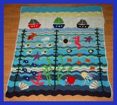 Crochet Blanket Crochet Sea Blanket Crochet by LoveCareHandmade