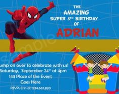 Digital (You print) Spiderman Birthday Invitations, Rsvp Wording, Everything Will Be Ok, Thank You Tags, Kid Names, Favor Tags, All The Colors, No Time For Me, Thinking Of You