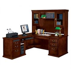 Huntington Cherry Ldesk With Left Return And Hutch - Martin Furniture