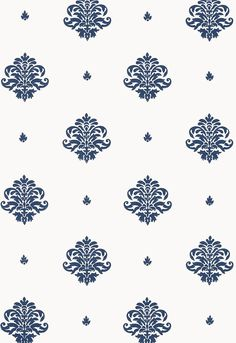 This wallcovering features a small scale classic damask motif, which is derived from traditional European textile designs and is hand block printed with open spacing on a solid ground. The palette ranges from dramatic Navy on white to subtle antique Gilt Navy Wallpaper, Kitchen Wallpaper, Wallpaper Decor, Wallpaper Ideas, Textile Prints, Textile Design, Front Wall Design, Discount Wallpaper, Victorian Wallpaper