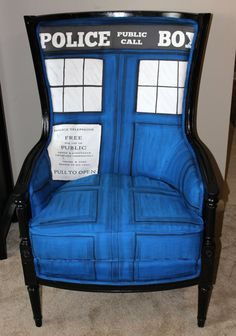 "Artist Shannon Witt of WittsWhimsy has created the ""Dr. Who Tardis Chair,"" a whimsical Bergère Regency chair beautifully reupholstered with hand-painted Shantung silk, handmade piping, and memory f..."