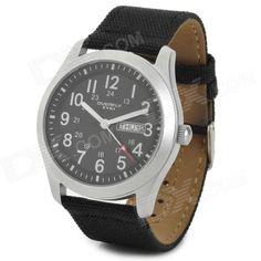 EYKI 8479 Mens Sport Style Linen Band Quartz Wrist Watch w/ Calendar - Black + Silver (1 x 377)