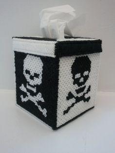 Plastic canvas skull crossbones tissue box