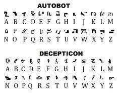 Autobot and Decepticon alphabets.