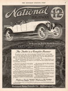 1916 National Motor Vehicle Co Indianapolis IN Car Auto vintage print Ad