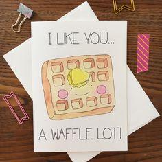 Waffle Greeting Card Breakfast Greeting Card by ARIllustration Homemade Birthday Cards, Diy Birthday, Homemade Cards, Birthday Quotes, Funny Birthday, Birthday For Him, Sister Birthday, Birthday Images, Birthday Ideas