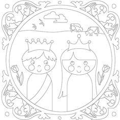 Leuke kleurplaat van het koningspaar voor koningsdag van Papiergoed. (tip van www.sienenco.nl)