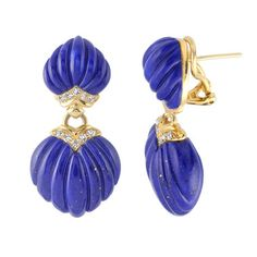 Lapis Lazuli and Diamond Drop Earrings, in 18kt Yellow Gold