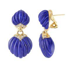 Lapis Lazuli and Diamond Drop Earrings 18kt Yellow Gold @ Birks