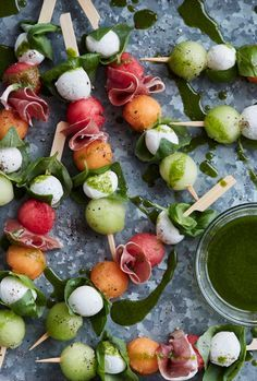 Melon Caprese Skewers from http://www.whatsgabycooking.com the easiest and best summer appetizer EVER (/whatsgabycookin/)