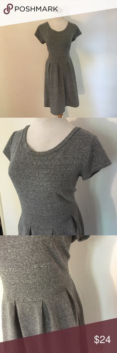 Gap Gray Sweatshirt Skater Dress The best everyday dress! Soft heathered gray, cotton/poly/rayon blend. Fitted waist with pleats and metal zipper at back (similar to popular Lularoe Amelia but shorter, a sinker sleeve...and sadly, no pockets). Like wearing your fave sweatshirt only as a dress! Generous fit, sizes 10-14. GAP Dresses