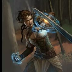 f Wood Elf Warlock midlvl Leather Armor Casting Shield Spell deciduous forest Night battle story Illia Blue Caste member High Fantasy, Fantasy Rpg, Medieval Fantasy, Fantasy Artwork, Fantasy World, Dungeons And Dragons Characters, Dnd Characters, Fantasy Characters, Female Characters
