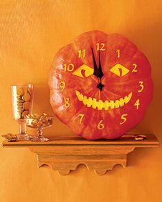 The base of a Cinderella pumpkin makes a perfect face for a jack-o'-clock.Print the Jack-o'-Clock Template