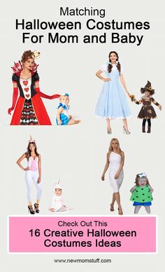 Looking for matching Halloween costumes for mom and baby daughter. Here's more than a dozen idea to help you out. Mother Daughter Halloween Costumes, Mom And Baby Costumes, Matching Halloween Costumes, Mom Costumes, Baby Girl Halloween Costumes, Creative Halloween Costumes, Halloween Outfits, Early Pregnancy, Pregnancy Tips