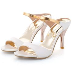 Summerwhisper Women's Sexy Peep Toe Ankle Strap Work Shoes Slip on High Heel Mule Sandals White 7 B(M) US. Heel height approximate 3.1 inches; For ladies who want to stand out anywhere, any time. Sexy peep toe; Elegant ankle strap; Kitten heel well display your charm. Vegan synthetic leather upper; Anti skid durable rubber sole; Breathable and healthy. High fashion, low price; Specific design gives this a chic, timeless look; At an affordable price. Easy to match different outfits in...