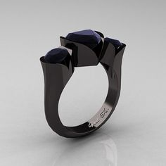 Nature Classic 14K Black Gold 2.0 Ct Heart Black Diamond Three Stone Floral Engagement Ring Wedding Ring R434-14KBGBD