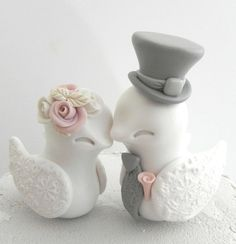 Love Birds Wedding Cake Topper White Dusty Pink and by LavaGifts
