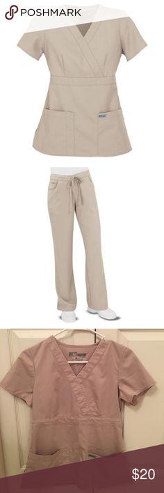 Grey's Anatomy Khaki scrub set XS Grey's Anatomy khaki scrub set, size XS top and XS pants regular length. Worn only a few times. Minimal wear/wash wear. Grey's Anatomy Other