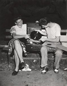 Records in the park. C.1950s