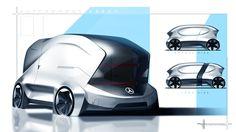 Free Sketches on Behance Car Design Sketch, Car Sketch, Microcar, Daimler Benz, Van Design, Mini Bus, Factory Design, Mode Of Transport, City Car