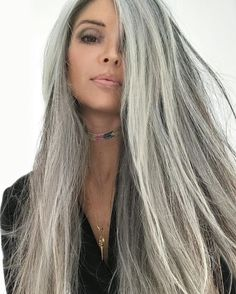 Best Silver Hair Color Ideas For Women Look More Beautiful 09 Grey Hair Don't Care, Long Gray Hair, Silver Grey Hair, White Hair, Coiffure Hair, Natural Hair Styles, Long Hair Styles, Pinterest Hair, Great Hair