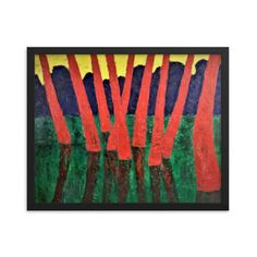 Bartos Art Framed Poster: RED WOODS, Create a unique and personalized Ambiance in your Home and Office Timeless Beauty, Framed Art, Original Paintings, Alternative, Walls, Scene, Key, Create, Simple