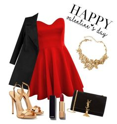 """""""Valentine's day❣"""" by marion31 ❤ liked on Polyvore featuring Giuseppe Zanotti, Oscar de la Renta, Yves Saint Laurent, Chanel, women's clothing, women, female, woman, misses and juniors"""