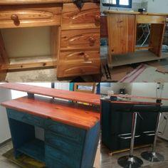 Diy old desk turning into kitchen island bar