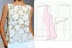 Great illustration for how to change a standard neckline to a boatneck Dress Sewing Patterns, Blouse Patterns, Sewing Patterns Free, Clothing Patterns, Sewing Tutorials, Fashion Sewing, Diy Fashion, Ideias Fashion, Costura Fashion
