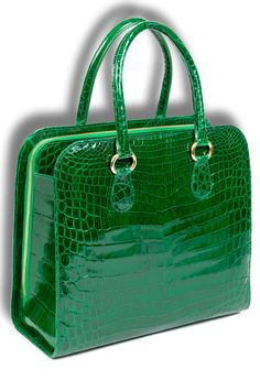 Leu Locati bag/case [with what appears to be a patent green finish and reptilian…