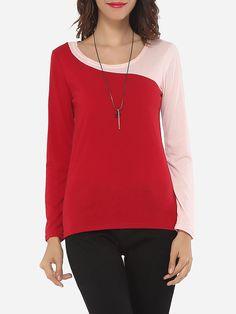 #AdoreWe #FashionMia Long sleeve T-shirts - FashionMia Assorted Colors Elegant Stylish Round Neck Long-sleeve-t-shirt - AdoreWe.com