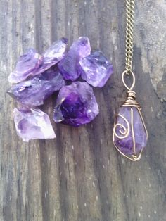 Raw Amethyst necklace pendant boho necklace healing stone bronze amethyst pendulum point raw crystal stone birthstone purple by dieselboutique on Etsy Wire Wrapped Jewelry, Wire Jewelry, Jewelry Crafts, Jewelery, Handmade Jewelry, Handmade Rings, Amethyst Necklace, Boho Necklace, Pendant Necklace