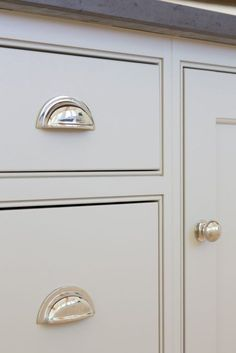 Grey kitchen cabinetry and polished nickel handles at the The Old Forge House, Hertfordshire Kitchen Knobs, Kitchen Cabinet Handles, New Kitchen Cabinets, Kitchen Hardware, Painting Kitchen Cabinets, Kitchen Paint, Door Handles, Red Cabinets, Inset Cabinets