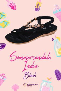 Sommersandalen India Black mit dekorativen Blüten für Damen ☀💦  Sommerliche Sandale mit weichem Gel-Fussbett ohne Zehentrenner. Dank dem   elastischen Fersenband sehr angenehm auf der Haut zu tragen. Wie auf Wolken schweben!  Jetzt online bei schwesternuhr.ch bestellen - Ohne Versandkosten! Schweizer Unternehmen.  #schwesternuhrch #schwesternuhr #schwesternschuhe #sandalen #sommersandalen #sommer India, Black, Beautiful Sandals, Comfortable Sandals, Comfortable Shoes, Hiking Supplies, Levitate, News, Business