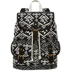 SM New York Aztec Print Cargo Backpack ($25) ❤ liked on Polyvore featuring bags, backpacks, accessories, purses, mochila, drawstring bag, buckle flap backpack, aztec print backpack, buckle strap backpack and drawstring flap backpack