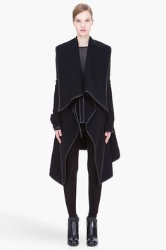 GARETH PUGH black Leather-trimmed draped collar wool Coat