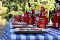 Backyard BBQ Rehearsal Dinner – The Sweetest Occasion Red and blue with Faygo Red pop as seen on www. Wedding Rehearsal, Rehearsal Dinners, Wedding Reception, Rehearsal Dinner Inspiration, Bbq Party, Lawn Party, Backyard Bbq, Backyard Weddings, Party Ideas