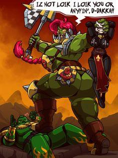 Git away frum my Huzbando, ya pansy grot! Warhammer 40k Memes, Warhammer Art, Warhammer Fantasy, Warhammer 40000, Warhammer 40k Salamanders, Thicc Anime, Anime Art, Character Concept, Character Art