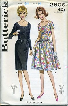 """Butterick 2806, Early 1960s, Vintage Dress Pattern, Front buttoned, low scoop neck, """"Mad Men"""" era."""