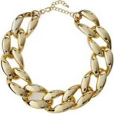 Kenneth Jay Lane Golden Chunky Curb-Link Statement Necklace