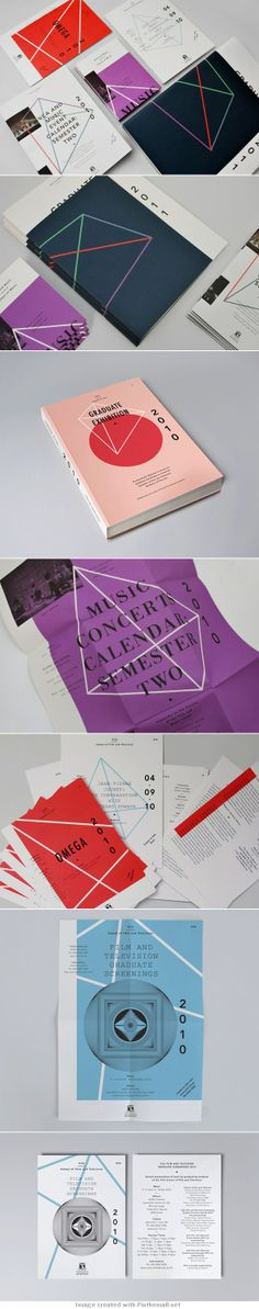 Identity System for the Victorian College of the Arts The geometric figures and poops of colors work so well together and are so pretty Web Design, Book Design, Layout Design, Print Design, Brand Identity Design, Graphic Design Typography, Branding Design, Leaflet Layout, Packaging