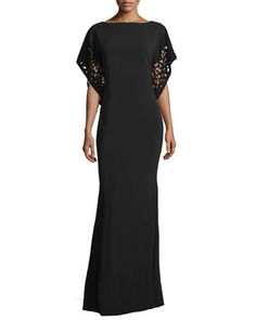 Laser-Cut-Sleeve Caftan Gown, Black by Rene Ruiz at Neiman Marcus.