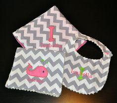 Baby Shower Gift - Monogrammed Grey Chevron Whale Appliqued Burp Cloth, Large Blanket, and Bib Set. $54.00, via Etsy.
