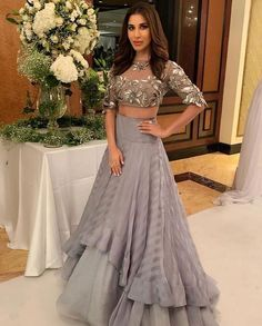 Designer dresses indian - Sophie Chaudary In Gray Ruffle Skirt With Crop Top Party Wear Indian Dresses, Indian Wedding Gowns, Indian Fashion Dresses, Designer Party Wear Dresses, Indian Gowns Dresses, Kurti Designs Party Wear, Dress Indian Style, Indian Designer Outfits, Indian Outfits