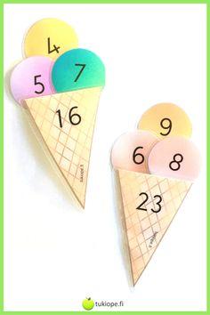Perustetaan oma jäätelökioski! Herkullinen toiminnallinen yhteenlaskutehtävä, joka innostaa harjoittelemaan yhteenlaskua. Jokainen luku edustaa erilaista jäätelömakua. Minkälainen makuyhdistelmä sopiikaan tähän vohveliin? Tulosta vohvelit ja pallot ja laminoi kestävään käyttöön.     yhteenlasku   alkuopetus   toiminnallinen matematiikka   Pallot, Kiosk, Enamel, Accessories, Vitreous Enamel, Enamels, Tooth Enamel, Glaze, Jewelry Accessories