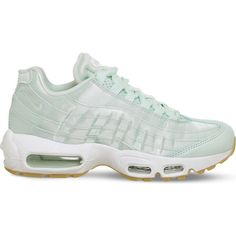 Nike Air Max 95 leather and satin trainers ($135) ❤ liked on Polyvore featuring shoes, sneakers, nike sneakers, nike trainers, traction shoes, leather trainers and grip trainer